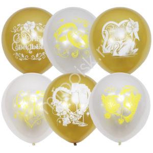 M 12″/30см Перламутр White + Металлик Gold  Свадебная тематика (растр) 2ст. рис